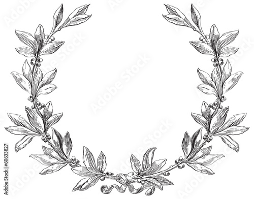 Vector laurel wreath at engraving style.