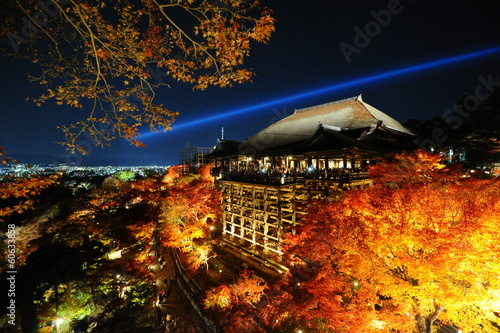Famous Kiyumizu dera temple illuminated at night (Kyoto, Japan)