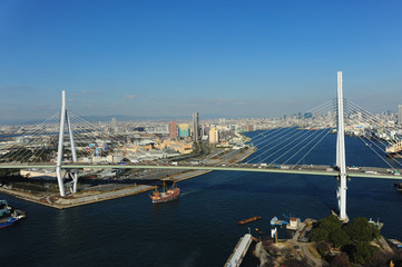 Osaka bay from top view