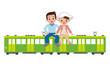 電車の旅をするカップル