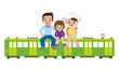電車の旅をする家族