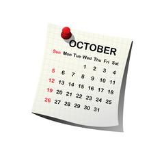2014 paper calendar for October