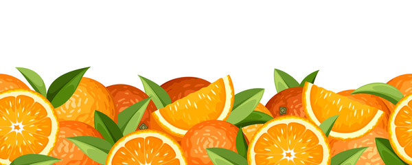 Horizontal seamless background with oranges. Vector illustration