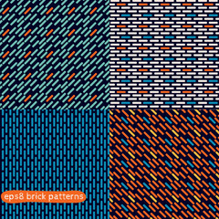Set of four simple abstract seamless vector brick patterns