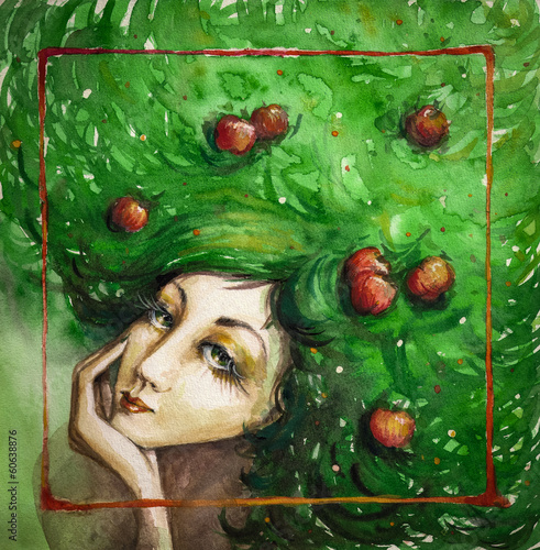 Portrait of beautiful woman with apples in her green hair.