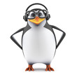 Academic penguin listens on headphones