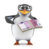 Academic penguin has some Euro notes to spend poster