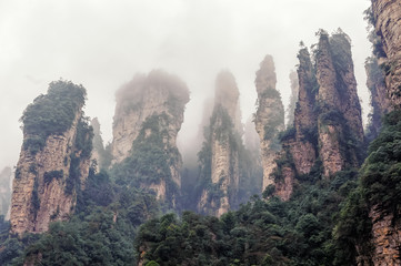 foggy Zhangjiajie