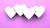 Heart Balloons on purple background