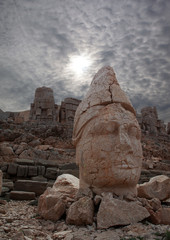 Heads of the statues on Mount Nemrut , Turkey