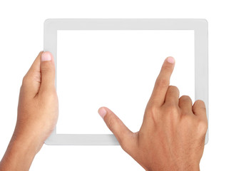 Fingers pinching to zoom tablet's screen