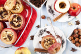 Baked apples with nuts and raisins