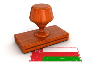 Rubber Stamp Oman flag (clipping path included)