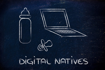digital natives: funny design with laptop, feeding bottle and pa