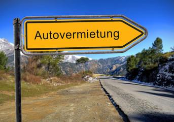 Strassenschild 16 - Autovermietung