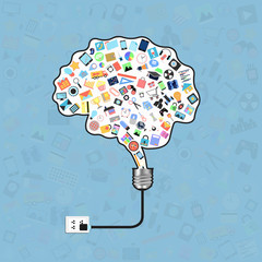 brain on light bulb with applications graphical user interface