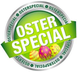 """Button Banner """"Osterspecial"""" Ostereier grün/silber"""