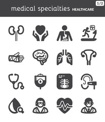 Medical specialties. Healthcare flat icons. Black