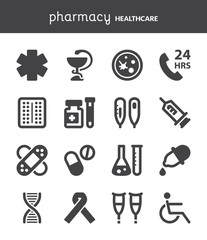 Pharmacy. Healthcare flat icons. Black