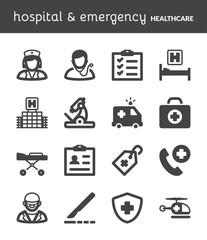 Hospital and emergency. Healthcare flat icons. Black