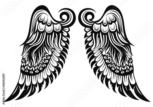 Angel wings. Tattoo design