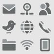 Communication web icons greyscale icons