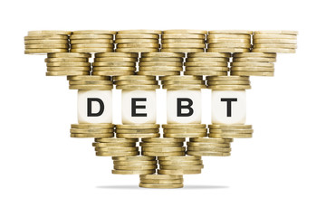Debt Management Word DEBT on Unstable Stack of Gold Coins