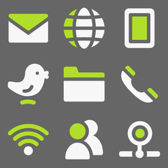 Communication web icons, white and green on grey