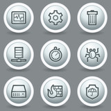 Internet security web icons, circle grey matt buttons