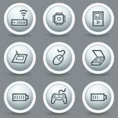 Electronics web icons set 2, circle grey matt buttons