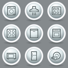 Home appliances web icons, circle grey matt buttons