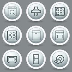 Home appliances web icons, circle grey matt buttons