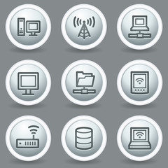 Network web icons, circle grey matt buttons