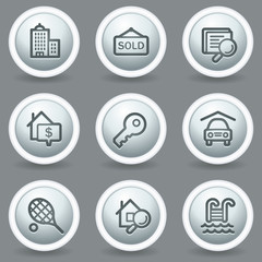 Real estate web icons, circle grey matt buttons
