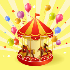 festive carousel with balls