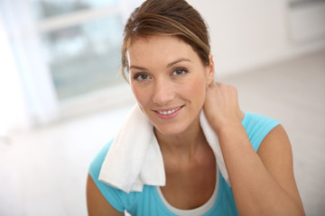Fitness girl after exercising