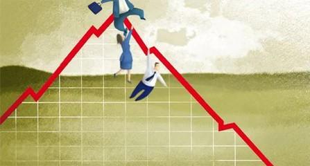 Ejecutivos cayendo de un gráfico de negocios