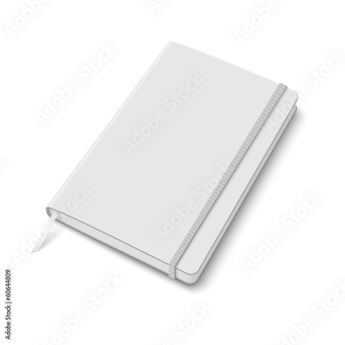 Blank copybook template with elastic band.
