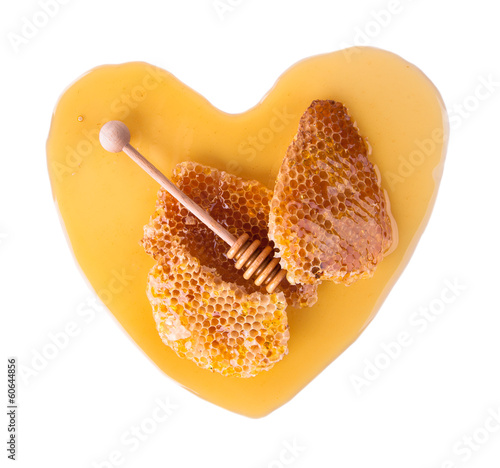 Honey heart, isolated on white background