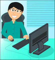 business manager working with computer