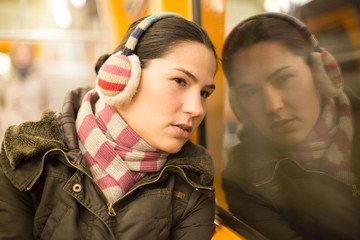 Young woman in train