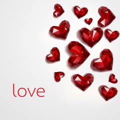 Red diamond hearts on Valentine day, Vector illustration