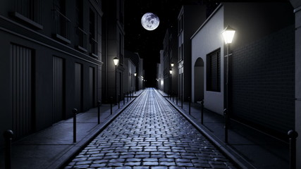 scary alley at night