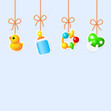 Background with hanging baby's things