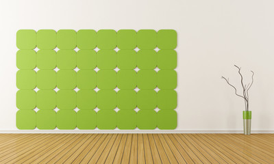 Green and withe room without furniture