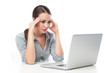 Frustrated Woman Staring at Laptop Screen