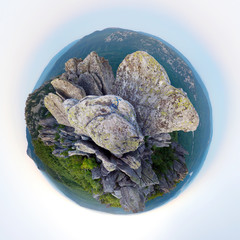 Mountains. Little planet panorama.