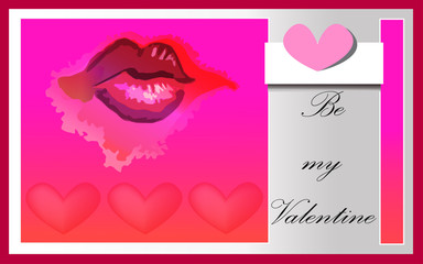 Kiss on red pink background.