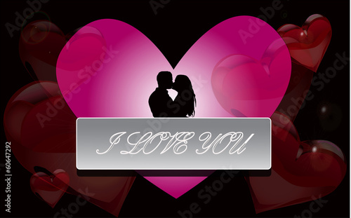 Boy and girl kissing on the background of hearts.