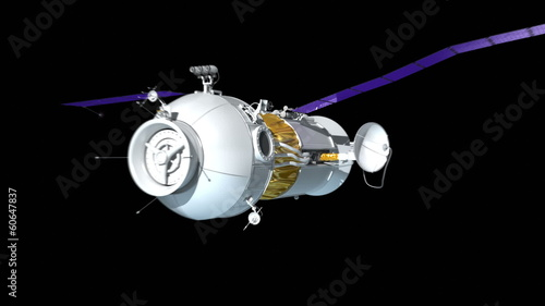 Space Station or spaceship. Loop 3d animation.